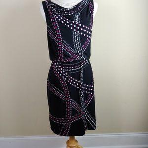WHBM chain print dress elastic waist.